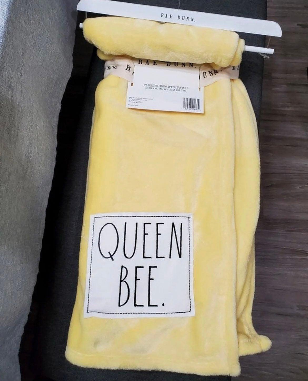Rae Dunn Queen Bee Plush Throw Blanket