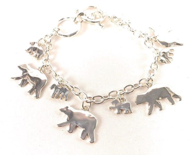 Silver Mama and Baby Bear Charm Bracelet
