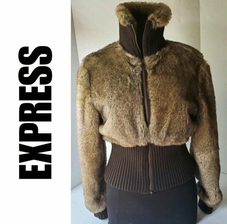 Faux Fur Mink Bomber Jacket Coat Large
