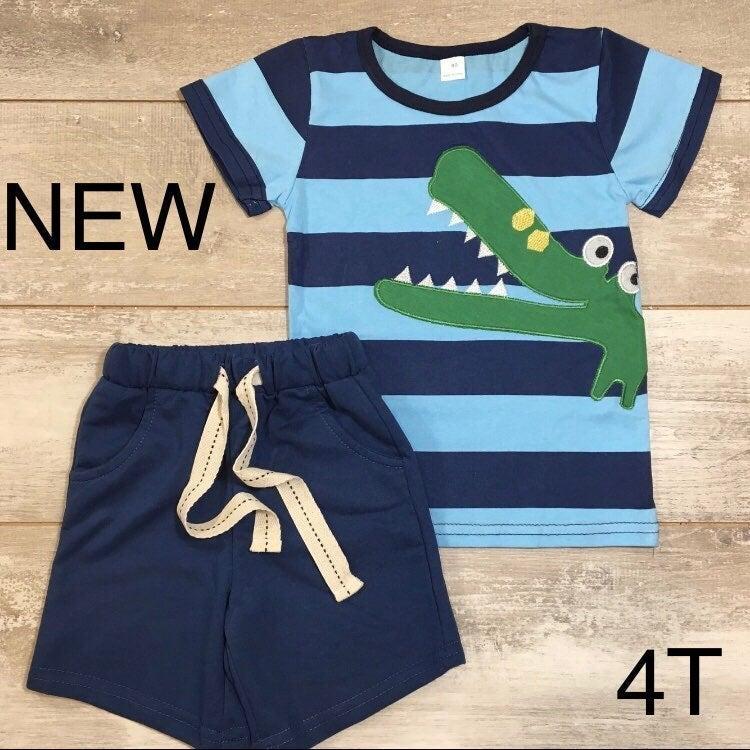 Boys Boutique Crocodile Shirt Shorts Set