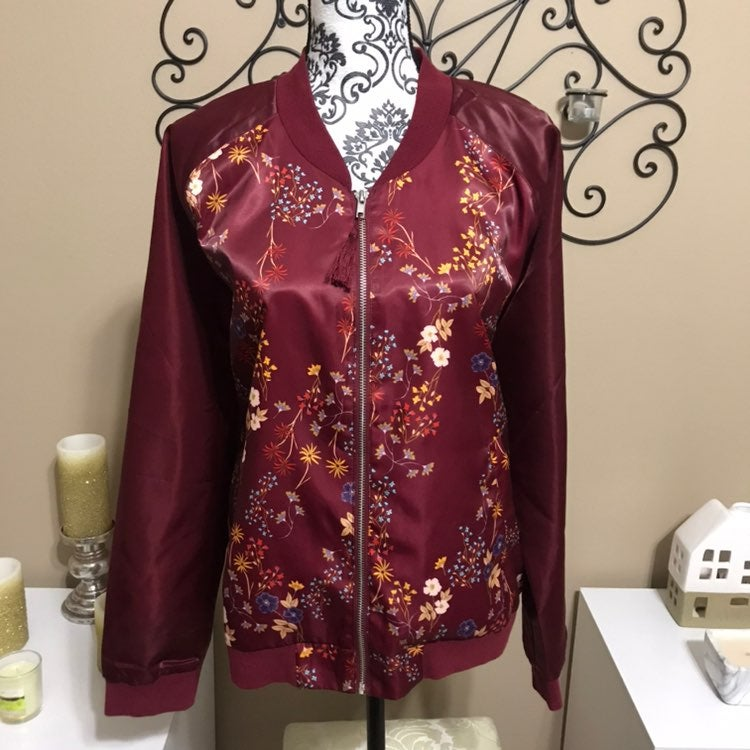 Love Fire Floral Bomber Style Jacket L