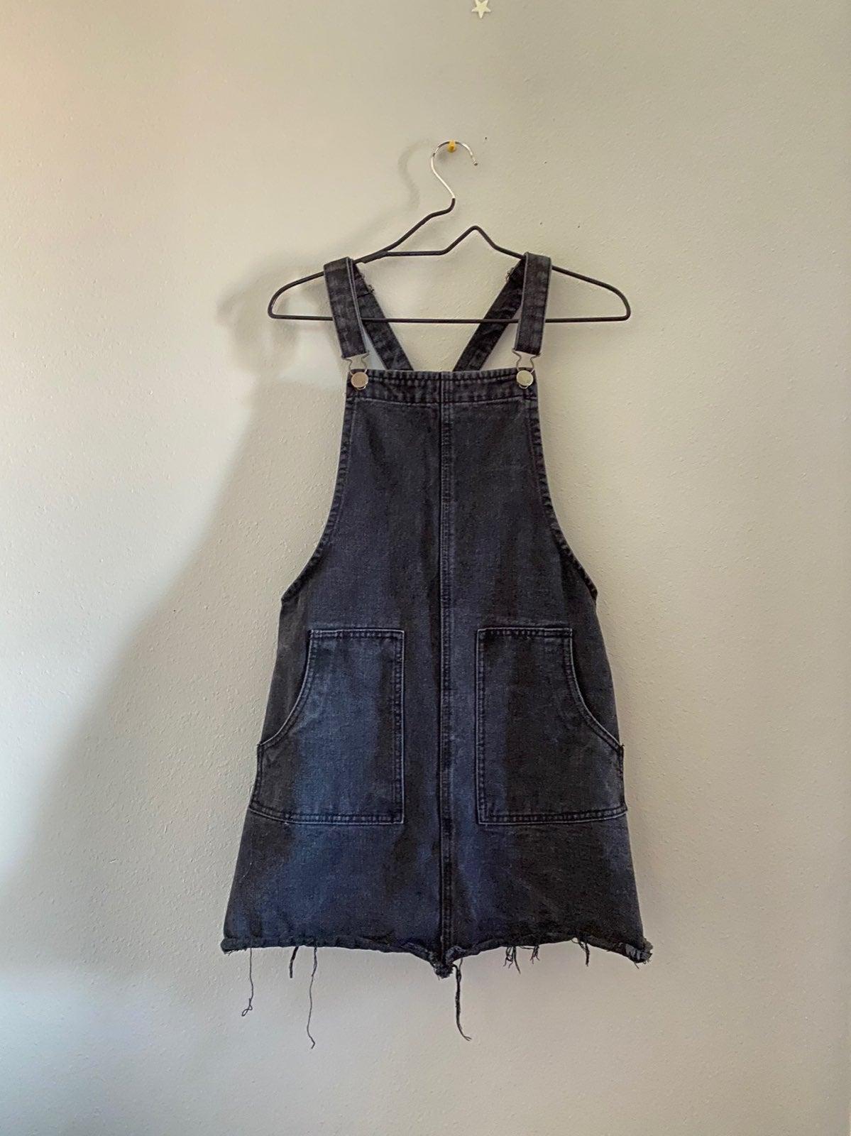 Black Denim Pinafore Overalls Dress
