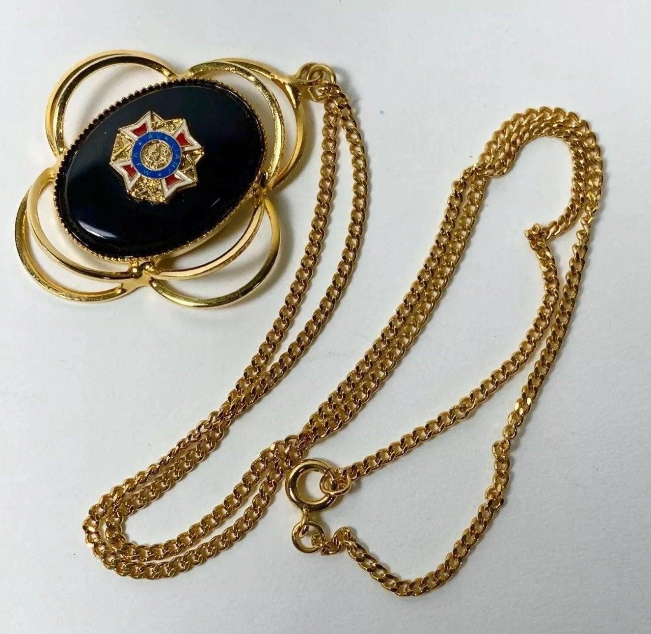 Vintage VFW Gold Tone Pendant Necklace