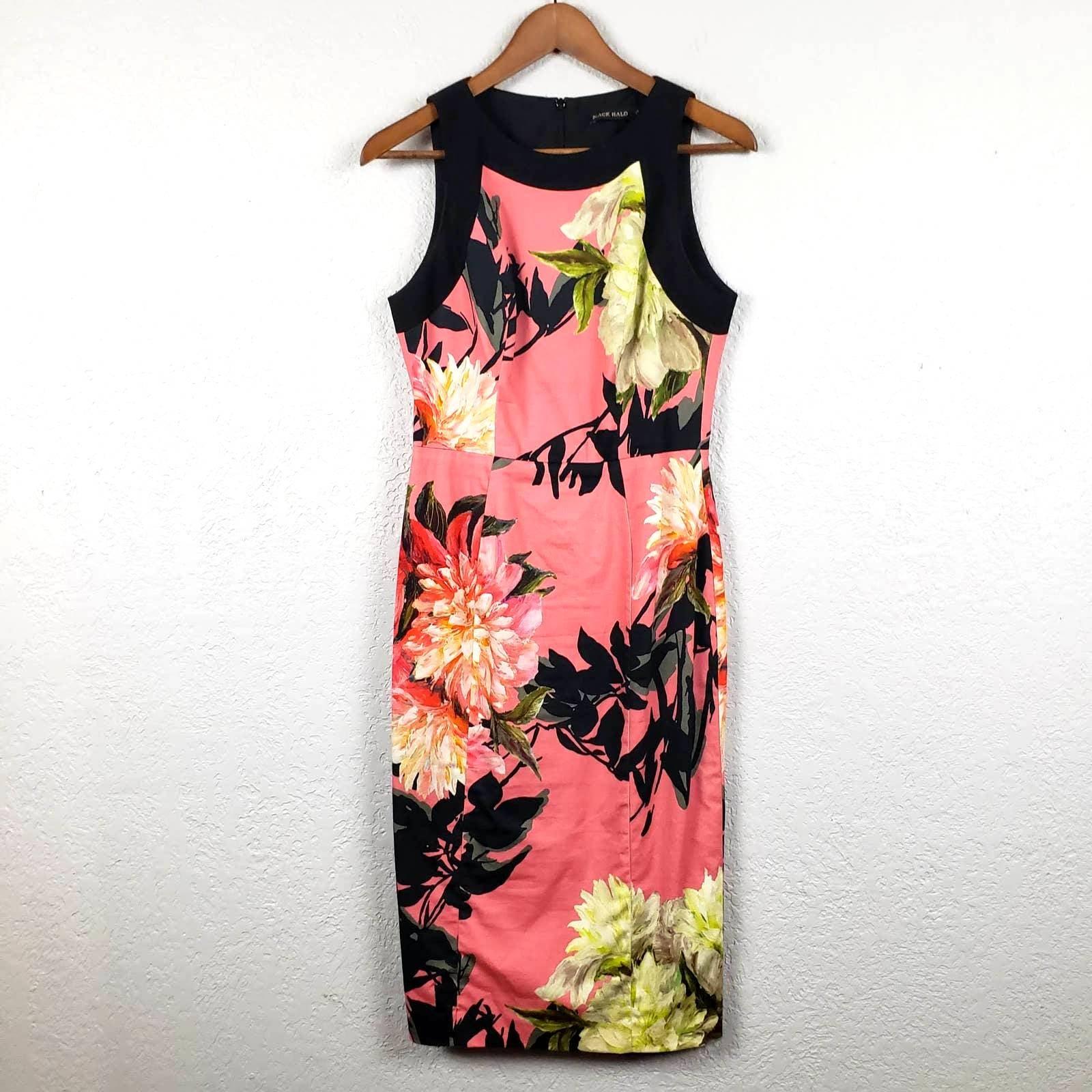Black Halo Floral Halter Dress - 4