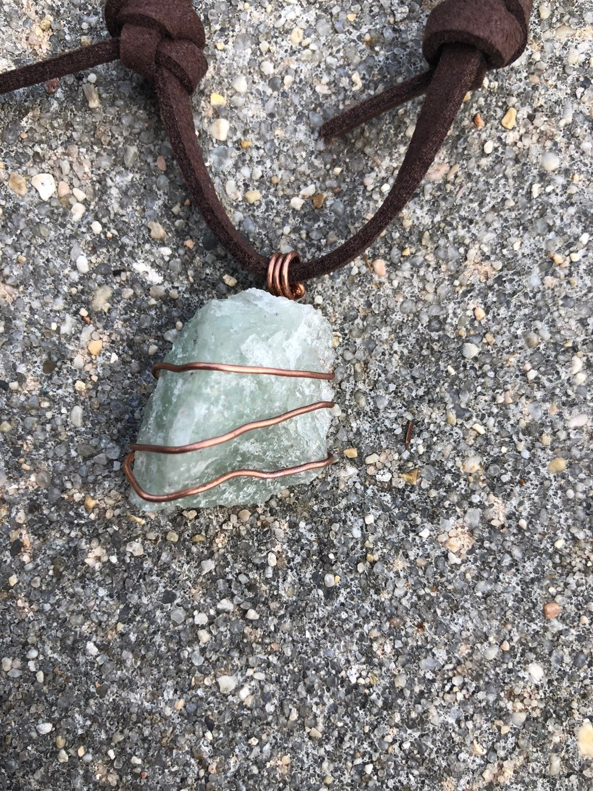 Copper Wrapped Green Aventurine Necklace