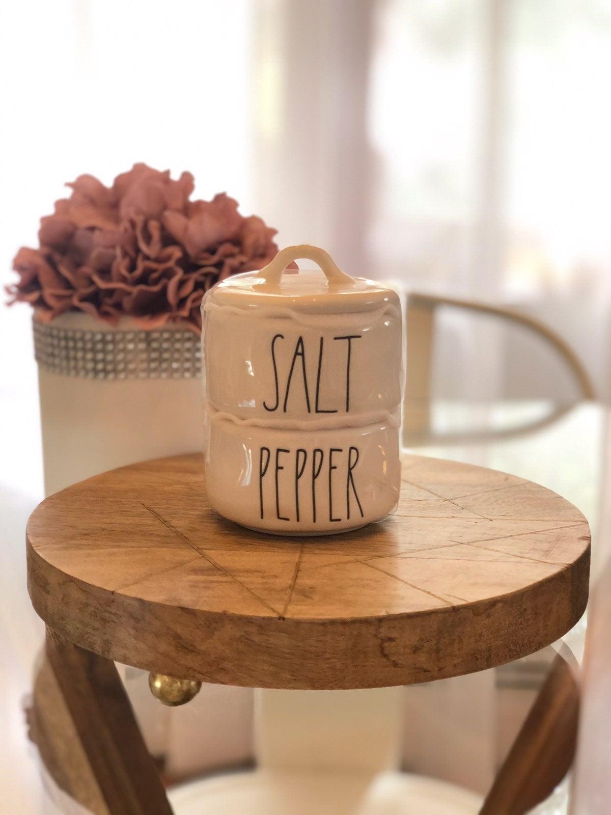 Rae Dunn Salt and Pepper Stack Cellars