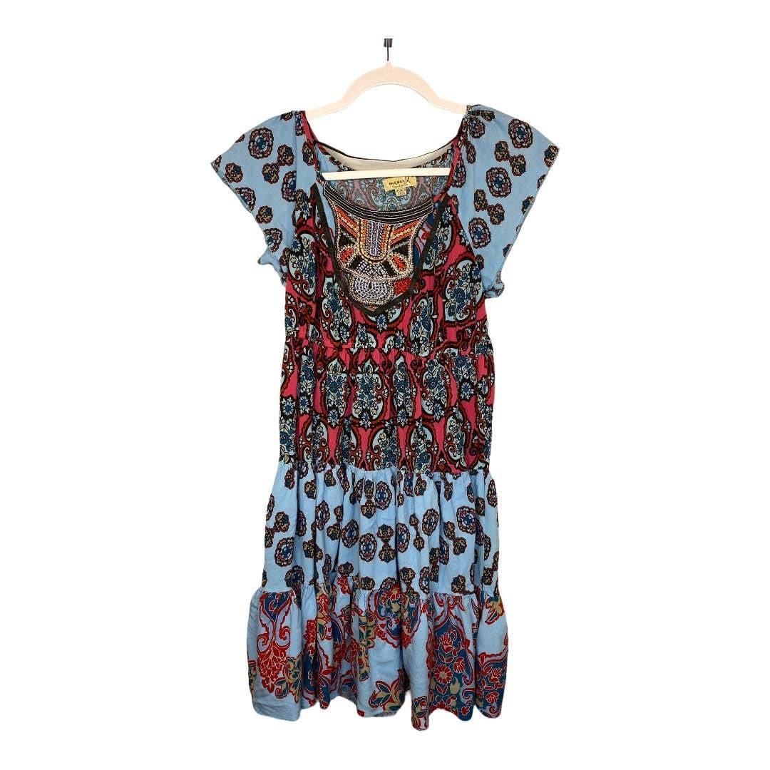ONE WORLD Blue & Raspberry Print Dress S