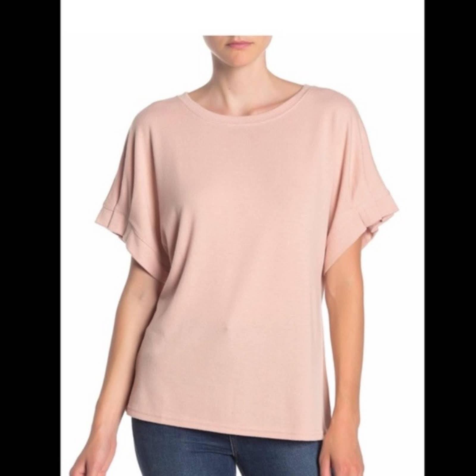 Rachel Roy Pink Pleated Sleeve Top