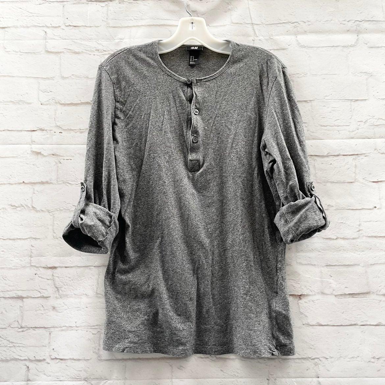 H&M Dark Grey Tab Sleeve Henley Shirt M