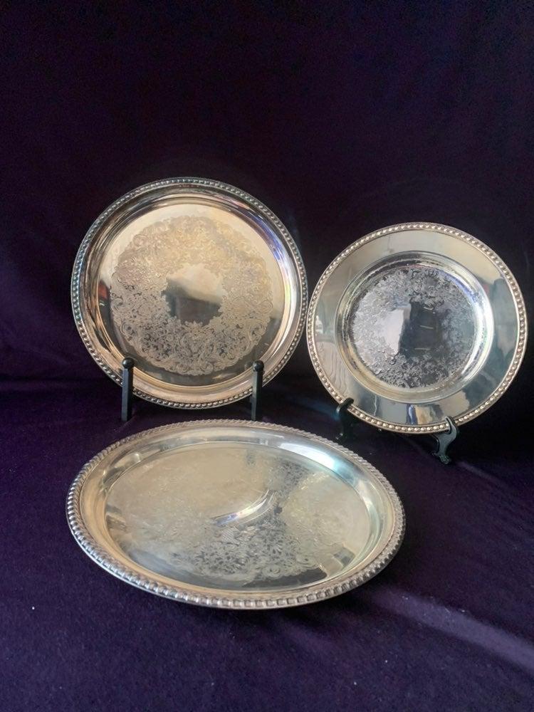 Vintage set of 3 W.M. Rogers silver plat