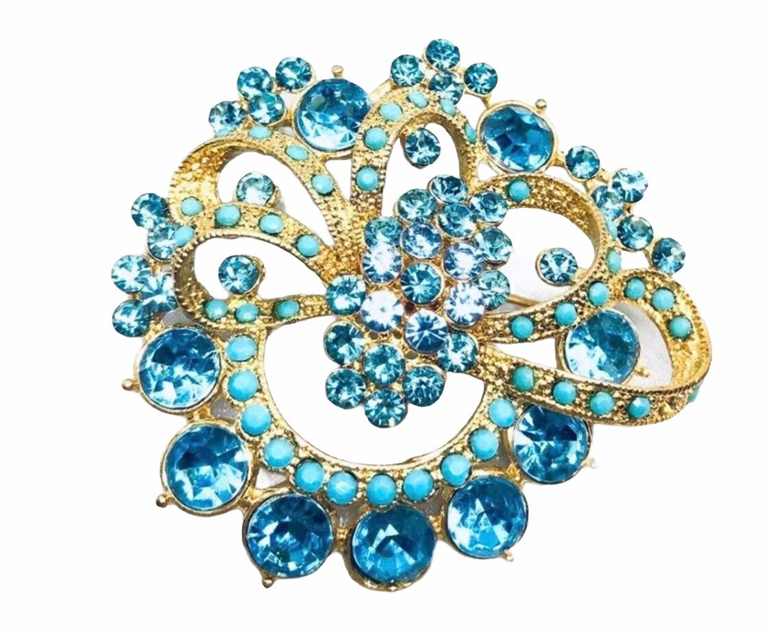 Large blue Brooch - new