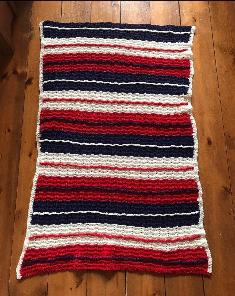 """54""""x34"""" Red White Blue Crocheted Afghan"""