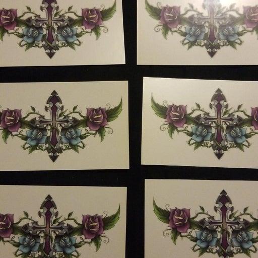 Temporary Purple Cross Tattoos