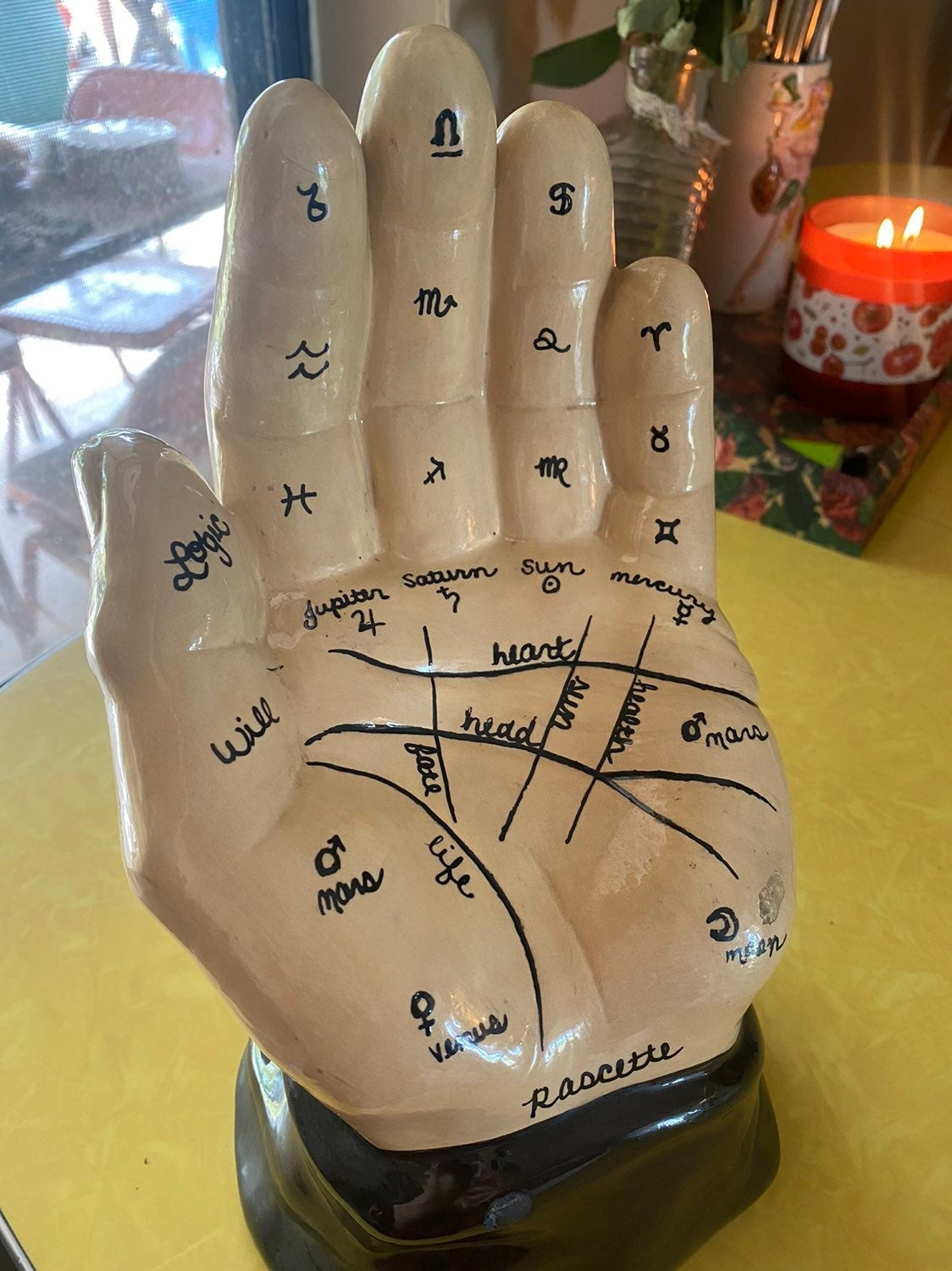 Upcycled Chalkware Palmistry Hand
