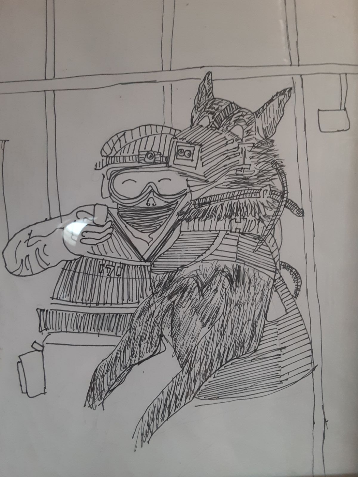 Bomb Squad Man and k9 Scetch 11x9 Frame
