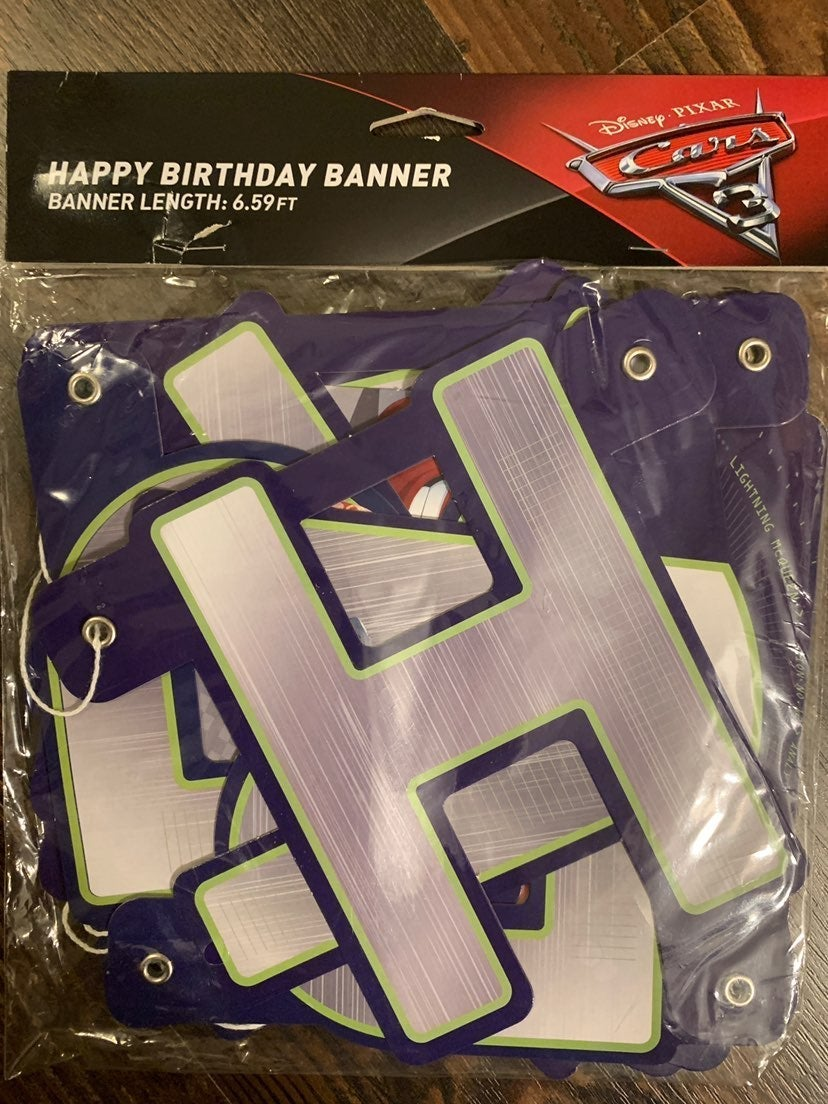 Disney Cars 3 Happy Birthday Banner