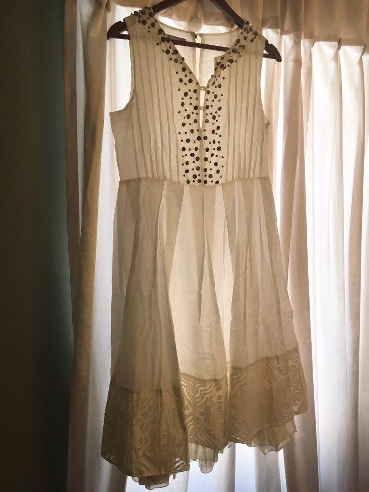 Cream ny collection cotton mosaic dress