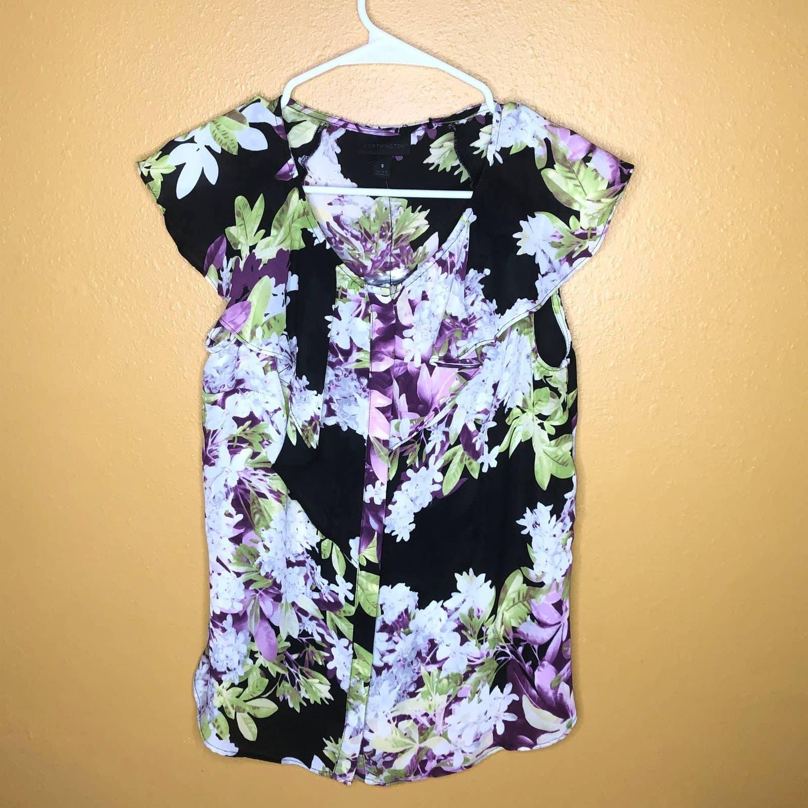 Worthington Sheer Floral Ruffle Blouse S
