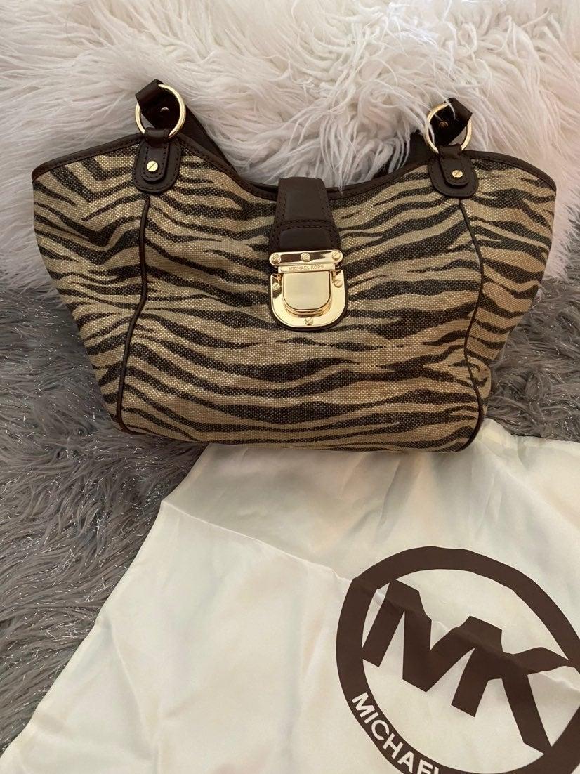 Medium MK Animal Print Shoulder Bag