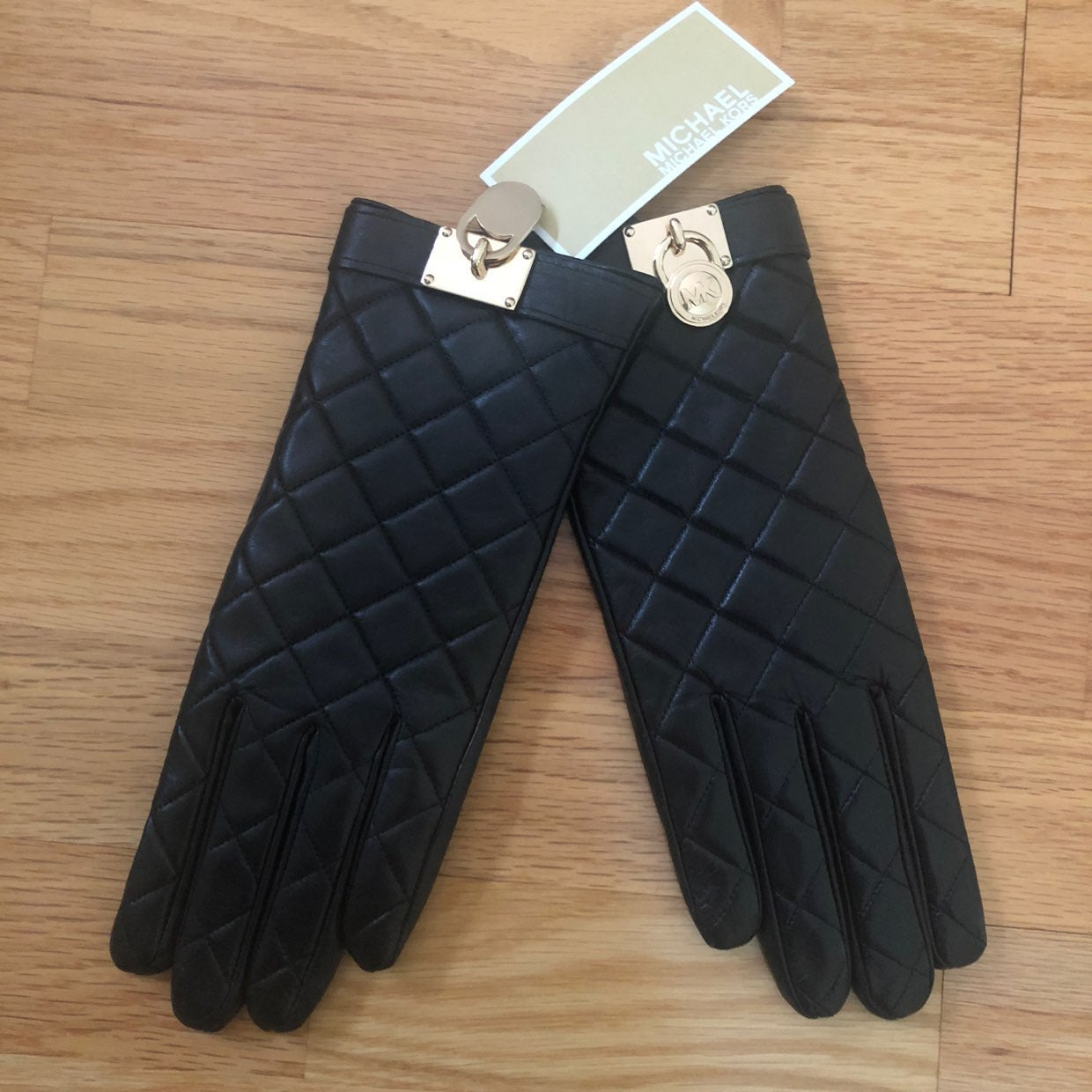 Michael Kors Women Black Leather Gloves