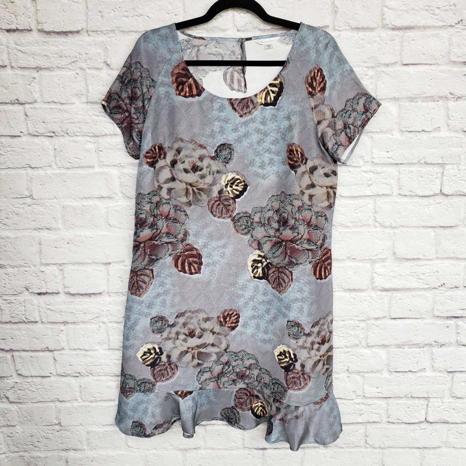 Garnet Hill Olivia Silk Dress Grey Sz 8