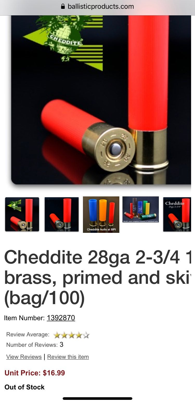 Cheddite 28ga 2-3/4 16mm primed and skiv