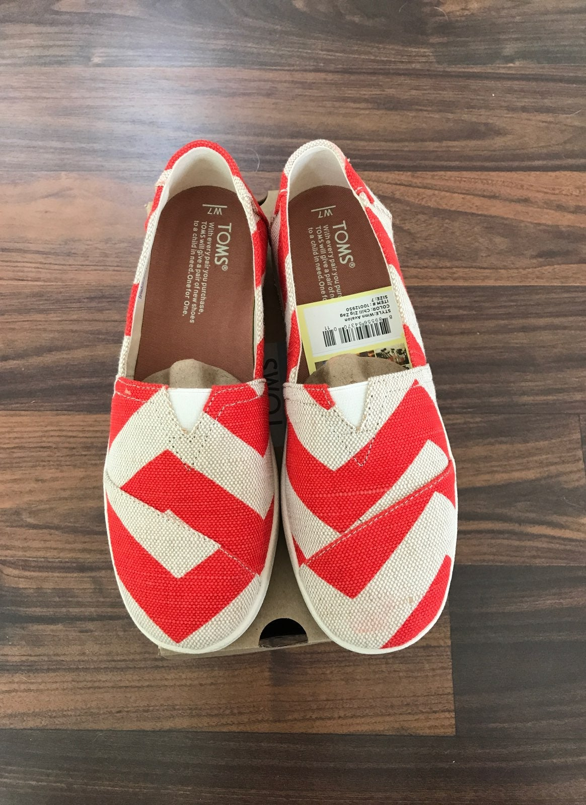 Red Stripped Toms Shoes