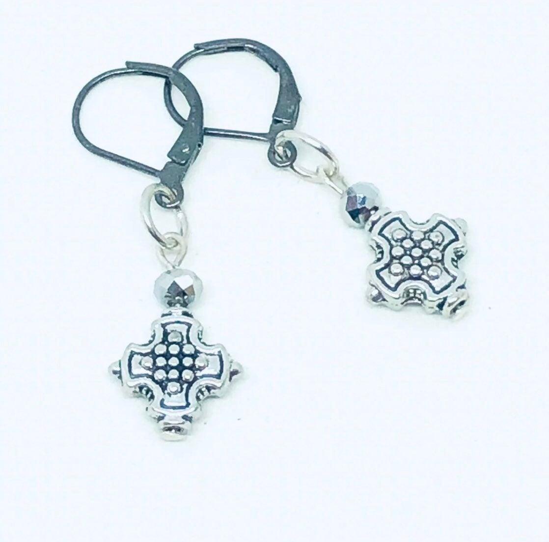 Silver cross Earrings - new