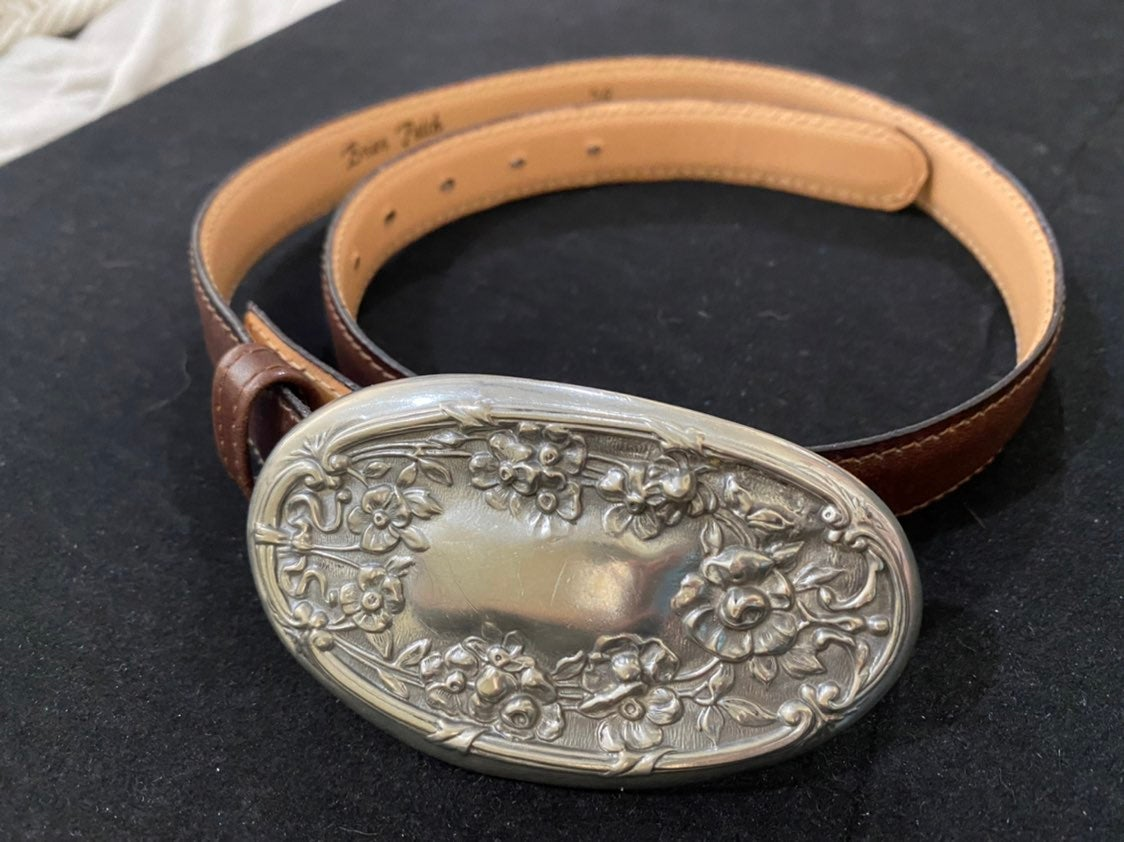 Briar Patch Leather Belt with floral mot