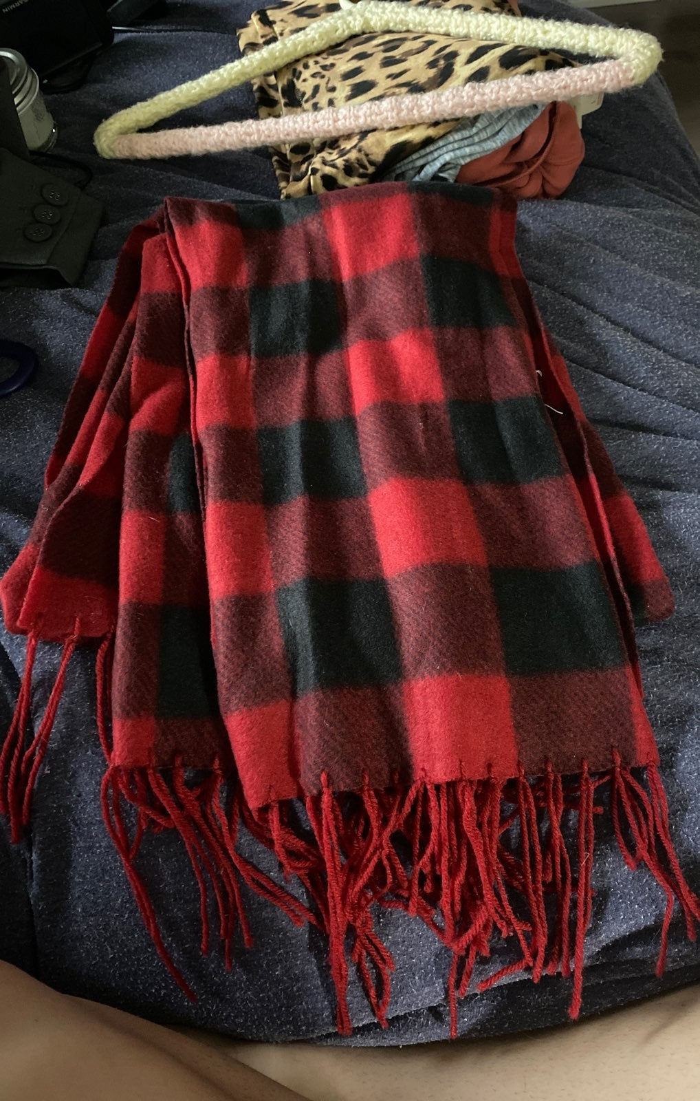 2 red scarves