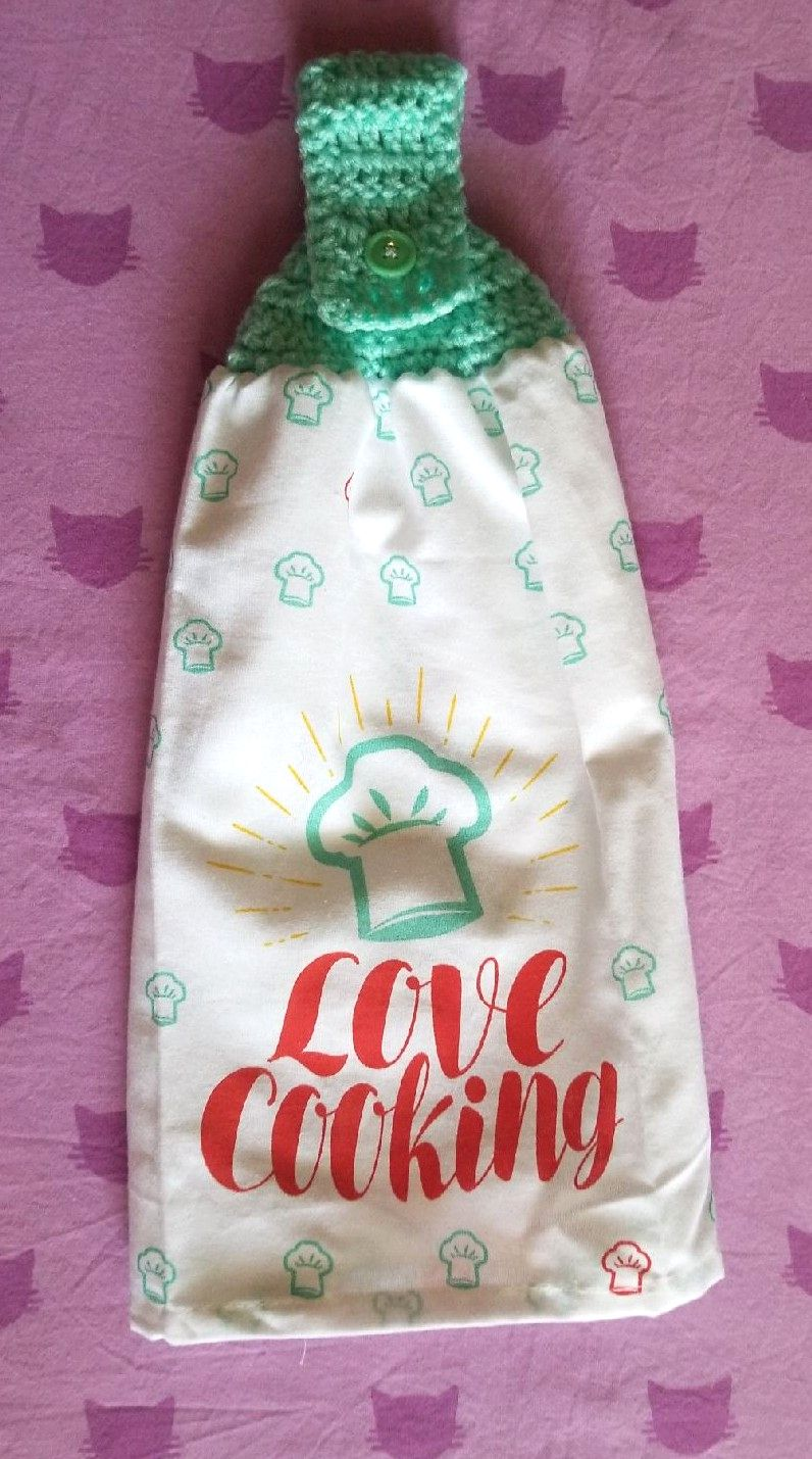 Hanging crochet love cooking kitchen tow