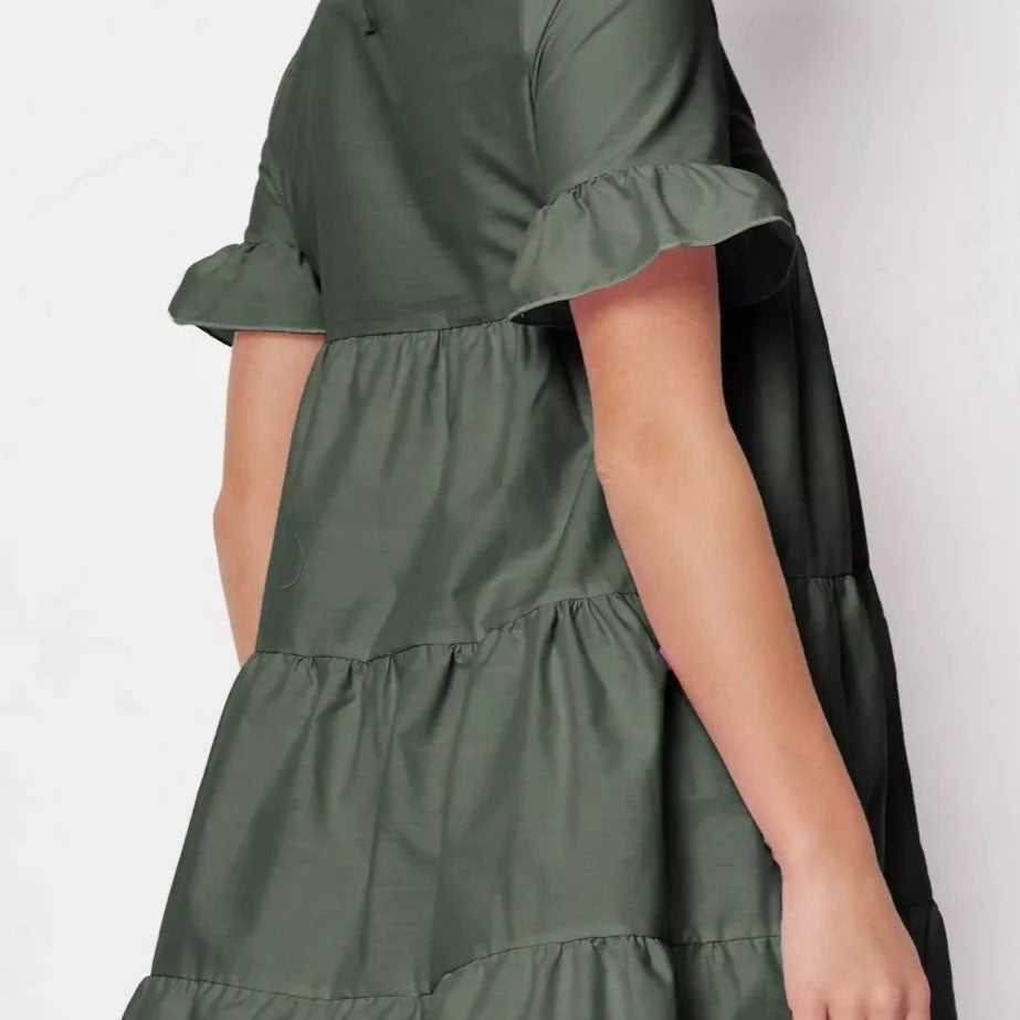 Frill Smock Dress | Mint Green