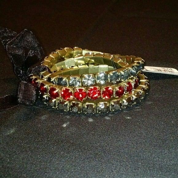 Red, Black & Gray Rhinestone Bracelets