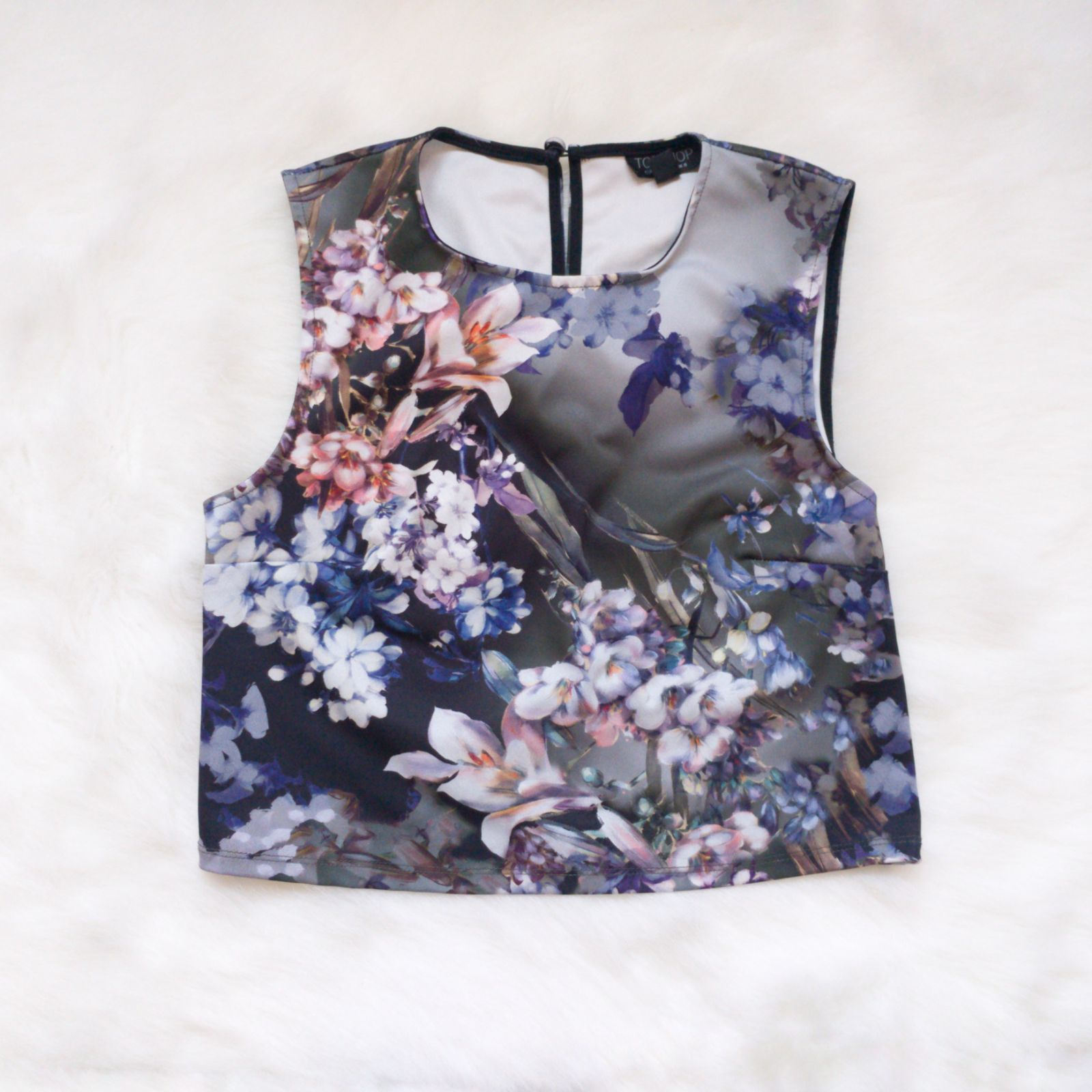 Topshop Floral Sleeveless Crop Top Sz 4