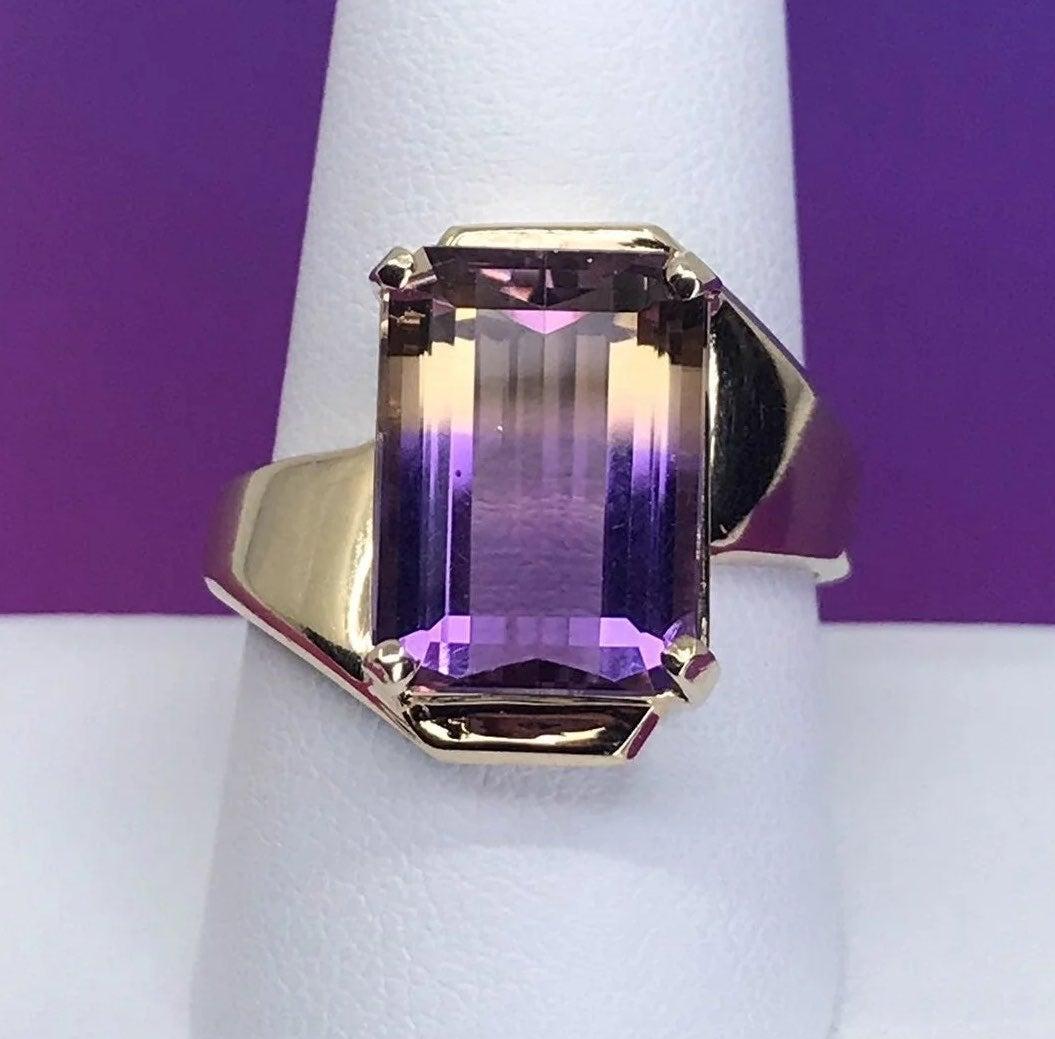 10k SOLID GOLD Bi-Color Ametrine Ring