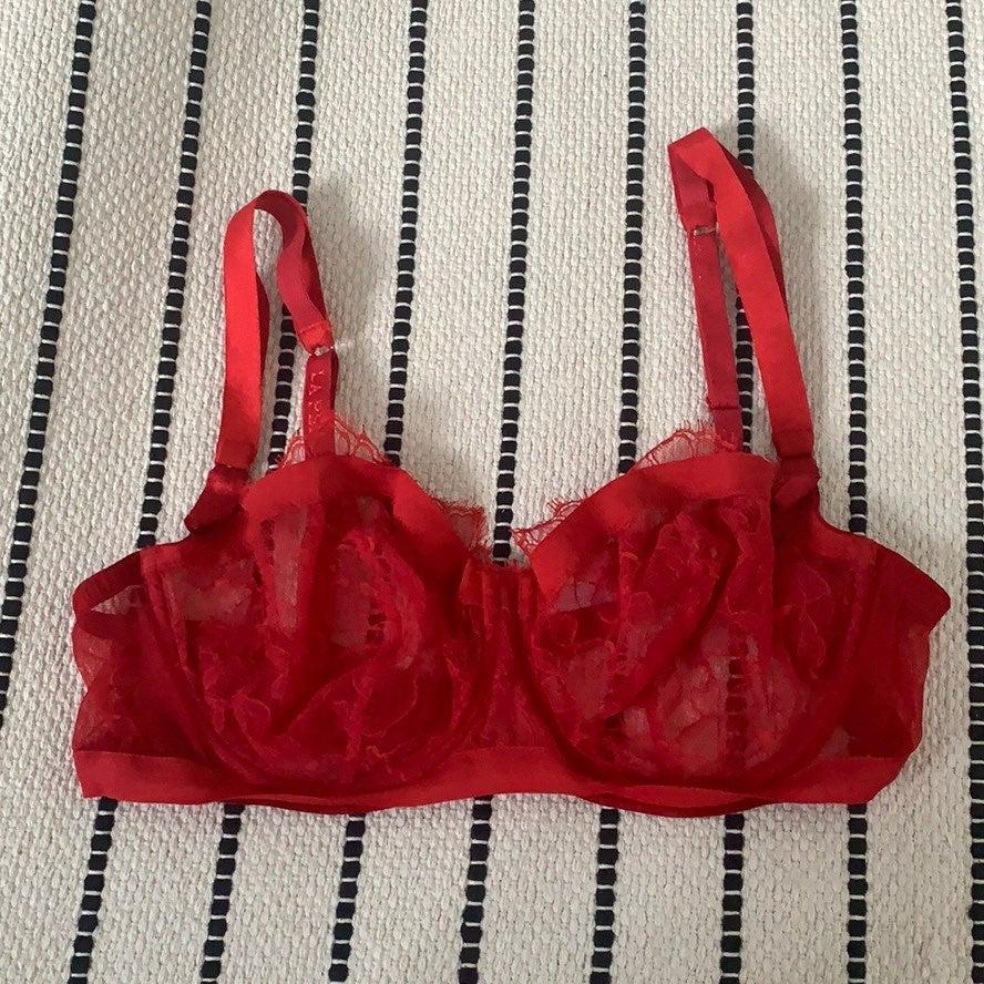 NEW La Perla Red Delicate Lace Luxury Br