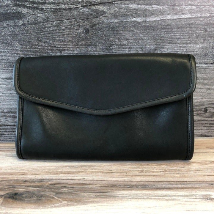Coach Envelope Clutch Black Leather NYC
