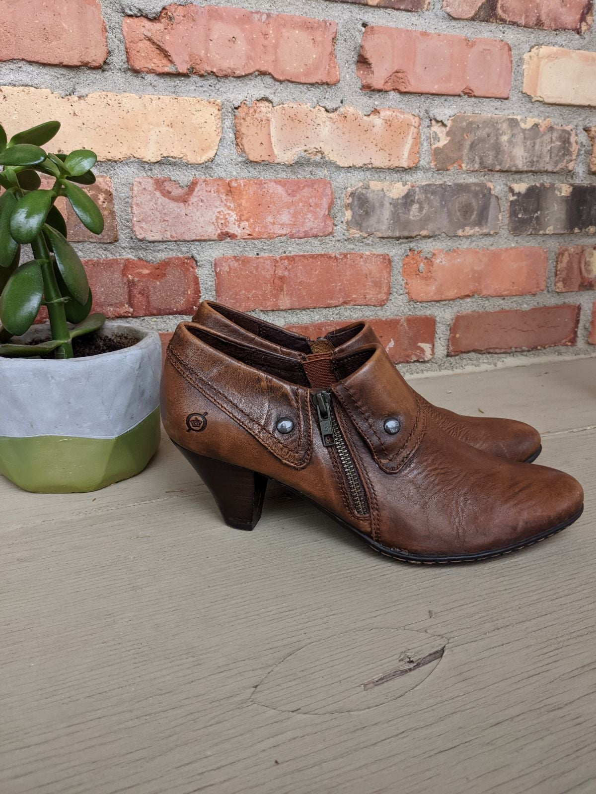 Born Brown Tanya Heeled Ankle Boots, 10