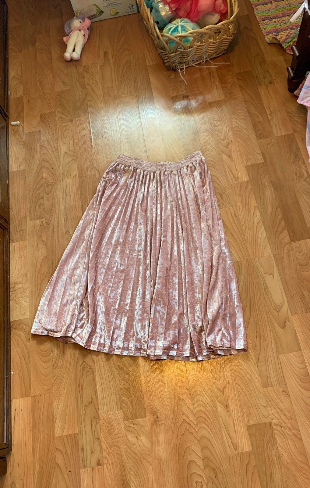 Velvet pleated circle Skirt
