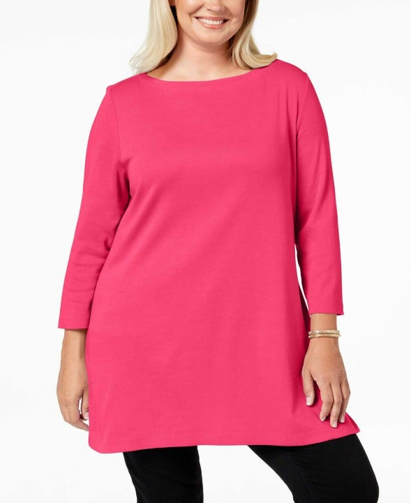 Karen Scott Plus Size Tunic, Pink, 0X