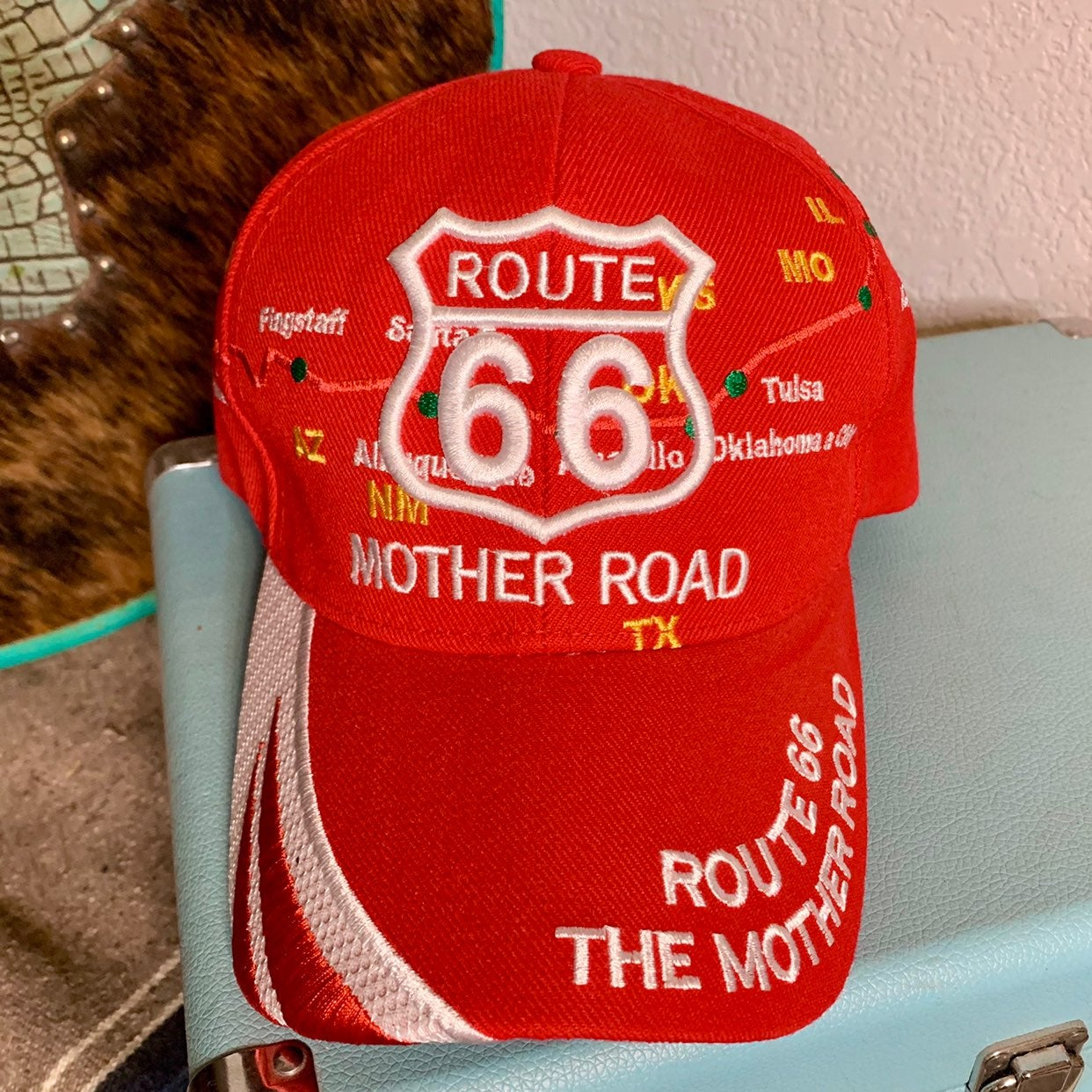 Vintage Route 66 Map Red Baseball Cap