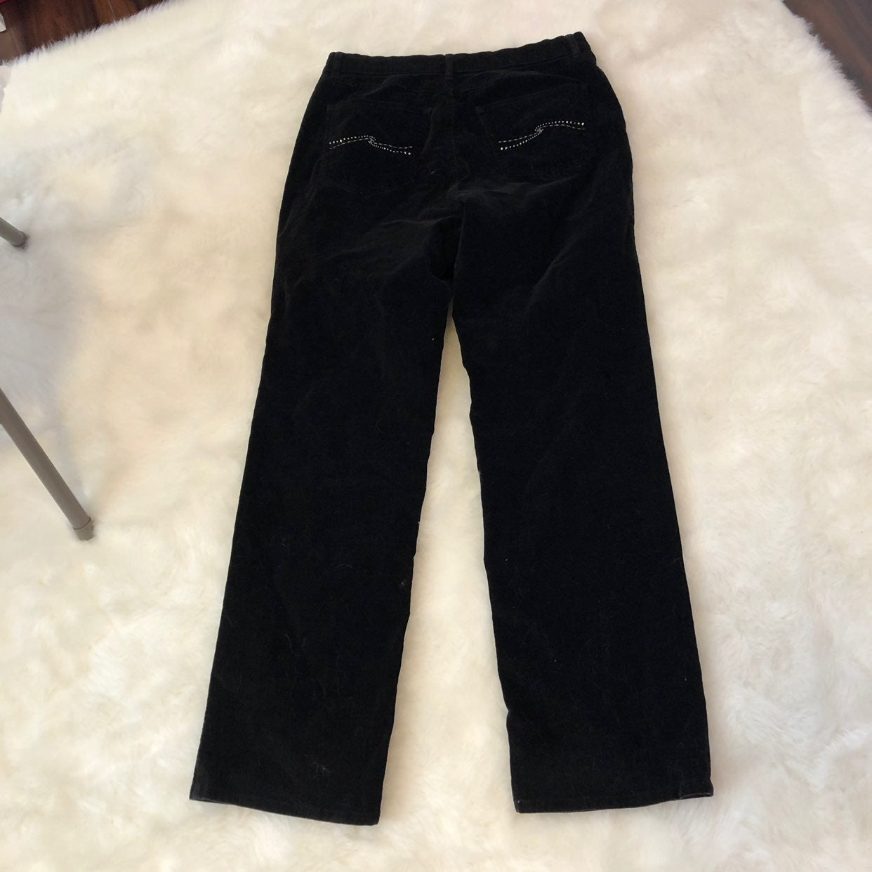 Talbots Black Velvet Bling Stretch Pants