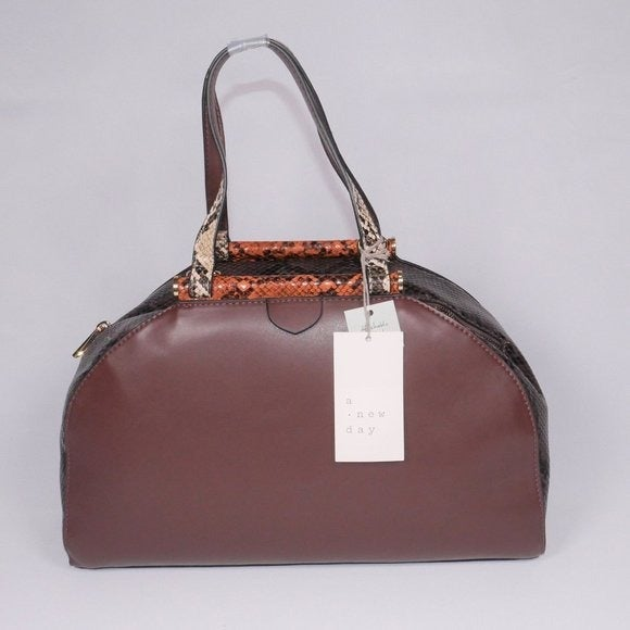 A New Day Brown Snake Print Satchel NWT