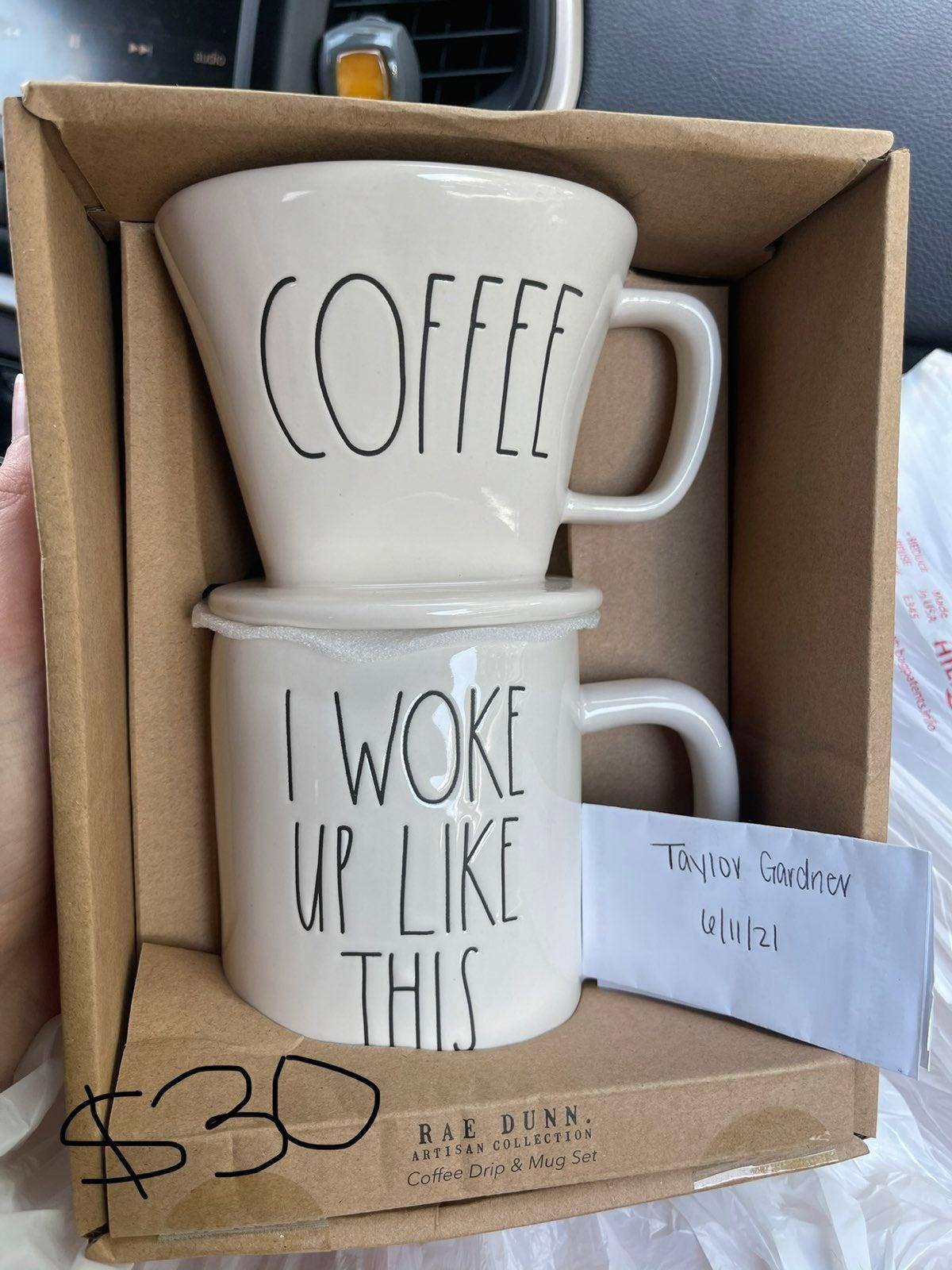 Rae Dunn coffee mug and cup set