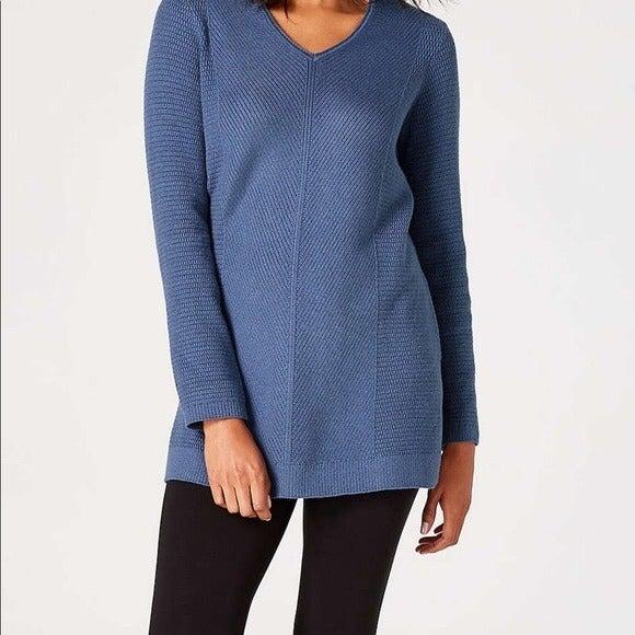 J. Jill XS blue oversized v neck sweater