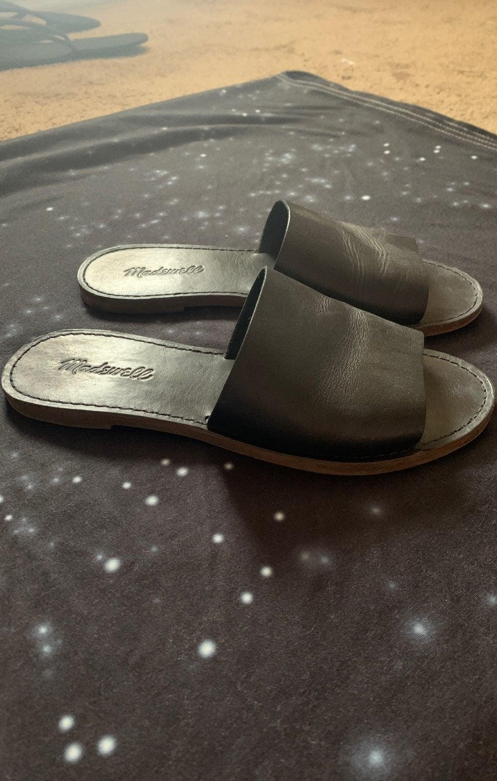 Madewell flat sandals, black