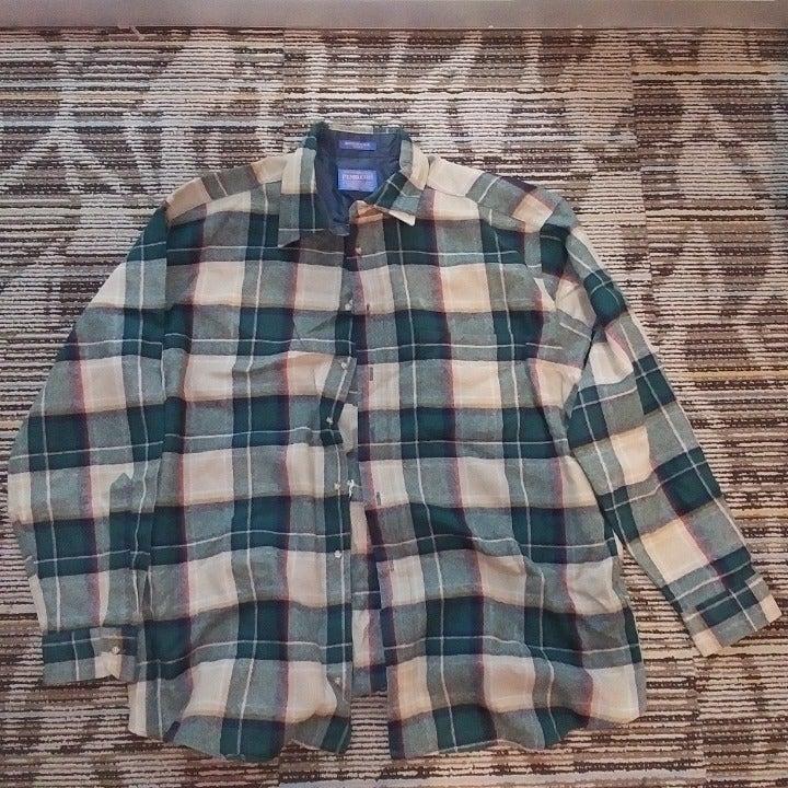 Pendleton Wool men's 100% wool shirt plaid vintage vtg green tan red colors XL