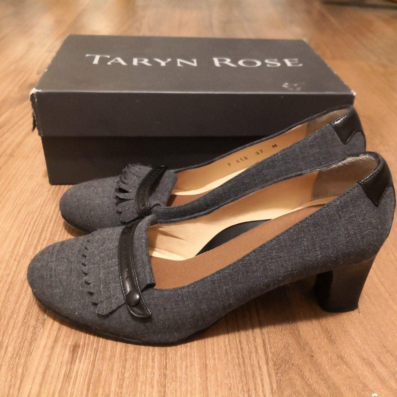 Taryn Rose Gray Block Heel Pumps