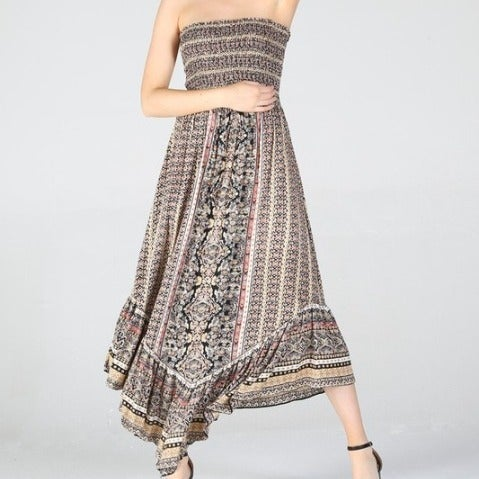 Black & Tan Gypsy Tube Top Maxi Dress