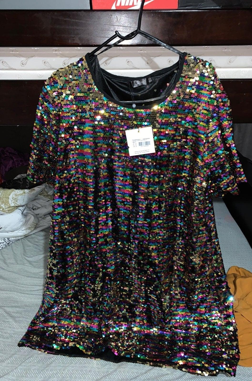 Curve multi sequin t-shirt dress